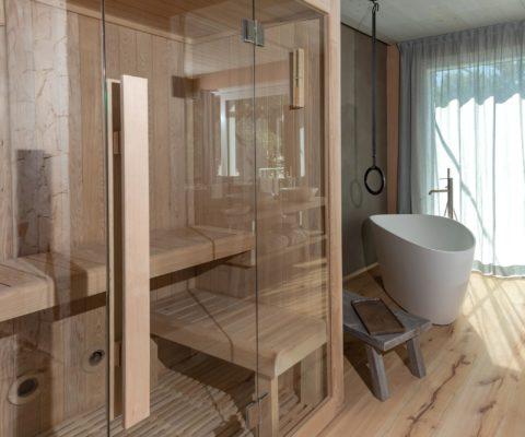 Sauna - arredamento biocertificato - Tulipa Natural Home - Mezzolago Apartments - Ledro (TN)